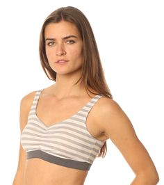 eco friendly bras & intimates // MAJAMAS // comfy supportive grey stripe printed bra made from recycled performance fabric with stretch elastic, no clasps, & removable pads for everyday, low-impact workout or yoga // be the change & learn to love ecofashion intimates & USA MADE // wear beautiful clothing that doesn't harm our beautiful planet
