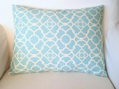 Throw Pillows Decorative Pillows Accent Pillows Cushion Cover 12 x16  Lumbar Aqua Cream Lovely Lattice Sun and Shade Waverly