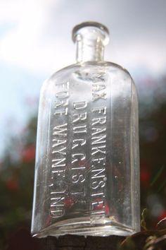 Max Frankenstein Druggist Antique Medicine Bottle Fort Wayne Indiana Slug Plate #MaxFrankensteinDruggist