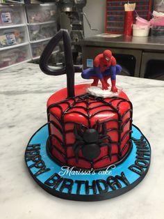 Spider-Man birthday cake. Visit us Facebook.com/marissascake or www.marissascake.com
