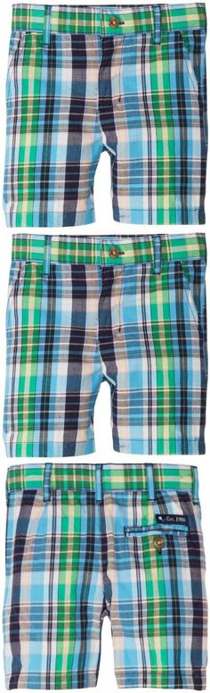 Kitestrings Boys 2-7 Toddler Boys Cotton Plaid Flat Front Short, Navy Plaid, 2T 100% cotton plaid. Hook and bar with zip fly front. Inside adjustable waistband. Side seem and back pockets. Belt loops.  #Kitestrings #Apparel