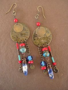 Boho Earrings, Rustic Tribal Gypsy Assemblage Earrings, Bohemian Jewelry, Southwest Earrings