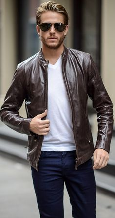 Men's Jackets For Every Occasion. Photo by Menswear Market Jackets are a must-have in the cold weather but it can also be used to accessorize an outfit. There is almost an unlimited number Leather Jacket Outfits, Men's Leather Jacket, Leather Men, Leather Jackets, Mens Brown Jacket, Custom Leather, Leather Fashion, Cool Jackets For Men, Hipster Jackets