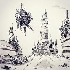 Amazing #penandink #drawing by @ullikummi of an #airship #flying through a #postapocalyptic #steampunk #landscape. Actually I don't think it's very steampunk... looks more like #Tatooine or some other #StarWars planet!  Whereever it's supposed to be it's a great #illustration! Nice work!
