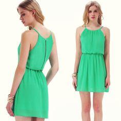 Green Off the Shoulder Back Split Dress