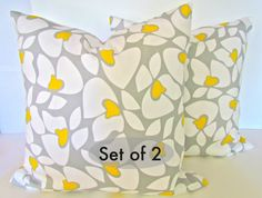 SET Of 2 GRAY Yellow PILLOWS  20 x 20  Modern by SayItWithPillows, $33.95