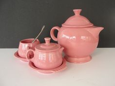 Beautiful Fiesta Rose Tea Pot Sugar Creamer and by marketsquareus