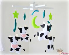 Cow baby mobile  nursery decor  stars moons by LullabyMobiles 262 US$