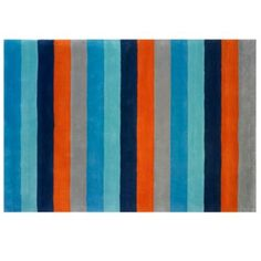 Bold Stripe Rug (Blue-Orange)  | The Land of Nod- This rug has all my favorite boy's color