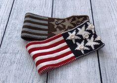 Womens American Flag Knit Headband USA Knit by uptowngirlco