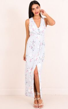 Sweet And Serene Maxi Dress in Grey Floral