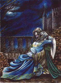 Romance by Orestes-Sobek on DeviantArt Fantasy Love, High Fantasy, Medieval Fantasy, Lestat And Louis, Fantasy Couples, The Embrace, Arte Disney, Fairytale Art, Illustrations