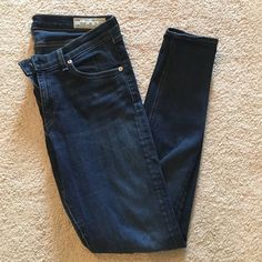 Rag & Bone skinny jean Dark wash, stretchy low rise Rag & Bone skinny jeans. Great condition. Very faint wear on the inside upper thighs: unnoticeable. Ankle length inseam. rag & bone Jeans Skinny