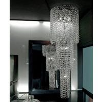 """The Fuochi longwall sconcebyVistosi has been designed by Studio Tecnico Vetreria Vistosi2002. Thiscrystal blown design is made in""""piastra""""glass with """"granglia""""textured surface decoration.Itismadein""""rigadin""""style,detailaccentedin24Kgoldspecks. This amply sizedwall lightis offered in your choice of wattage for your illumination preferences. This beautiful light was hand crafted on the island of Murano. Each light comes with a certificate of a..."""