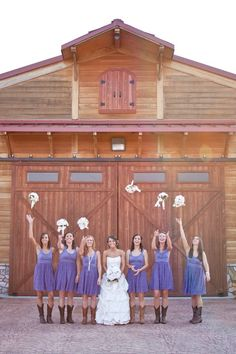 barn, tossing boquets with the bridesmaids