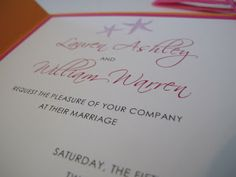Starfish Pink Orange Wedding Invitation - Florida Keys Destination Wedding - Paper goods by Le Petit Papier - www.lepetitpapierbymonica.com