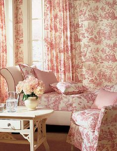 Pink Toile, slipcover on chair is nice (1) From: Inspired Design, please visit