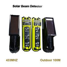 Solar power passive Photoelectric Wireless Infrared two Beam Detector sensitivity home security alarm system sensor 433MHZ