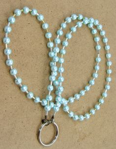 Mint Green Glass Pearl Beaded Eyeglass Lanyard Loop or Name Tag Holder by nonie615, $12.00