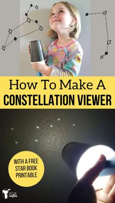 Explore the stars by making this fun and easy constellation viewer! Receive a FREE Star Book as well that you can print out for each child and keep track of each star constellation you discover! Science Activities For Kids, Science Curriculum, Science Fair Projects, Science Resources, Hands On Activities, Stem Activities, Kindergarten Activities, Toddler Activities, Science Fun