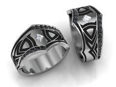 Tribal black diamond mens ring