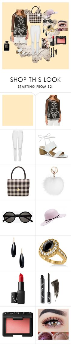 """Mixing Black and White"" by wendy-collins-1 ❤ liked on Polyvore featuring Rafaella, River Island, Tahari, Mansur Gavriel, Yves Saint Laurent, Janis Savitt, Allurez and NARS Cosmetics"