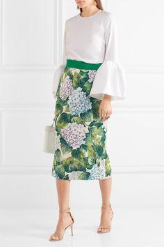 Dolce & Gabbana | Floral-print silk-blend charmeuse midi skirt | NET-A-PORTER.COM