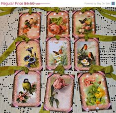 SUMMER SIZZLE SALE Flowers and Birds Hang Tags / Pink Polka Dot Tags - pinned by pin4etsy.com