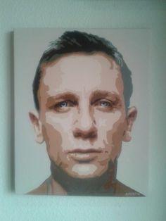 Retrato de Daniel Craig pintado a mano. Acrílico sobre lienzo por A Romero.  Turetratopop.com