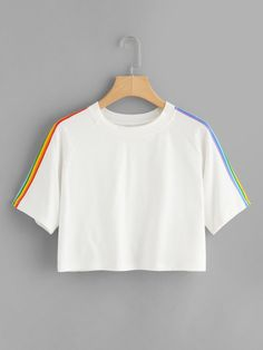 To find out about the Rainbow Stripe Panel Crop Tshirt at SHEIN, part of our latest T-Shirts ready to shop online today! Girls Fashion Clothes, Teen Fashion Outfits, 80s Fashion, Fashion 2020, Stylish Clothes, Fashion Today, French Fashion, Ladies Fashion, Hijab Fashion