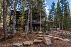 This mountain home, designed for and built in the Pine Mountain area of Kamas, Utah. Every effort was made to preserve the existing vegetation around the home, so the entry and presentation of the home is impeccably impressive. Entering the home, you will find high, vaulted ceilings,and an abundance of exposed-timber framing, creating an equally striking view on the interior. Large common areas, built-in bunk beds, and patio space make this home a perfect family retreat. #cabin #exterior Custom Home Builders, Custom Homes, Bunk Beds Built In, Pine Mountain, Common Area, Construction, Exterior, Kamas Utah, Cabin