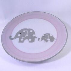 Assiette de bébé,personnalisable, rose et grise à pois blancs