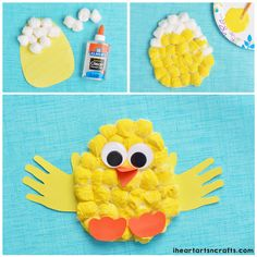 Cotton Ball Chick Craft | Make adorable baby chicks out of cotton balls and use handprints for wings! This is a fun and easy craft to do with your little ones, plus it's perfect for Easter!