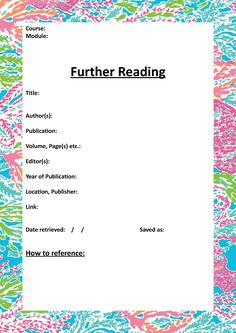 Further Reading Cover template. Free Download!! | Study.Read.Write.