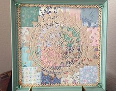 Framed Vintage 16 Patch Quilt Square with Vintage Tatted Doily and Glass Buttons is an Esmee Lynne Original Repurposed Art Piece. Framed Doilies, Lace Doilies, Vintage Textiles, Vintage Quilts, Vintage Linen, Antique Quilts, Vintage Patterns, Etsy Vintage, Embroidery Transfers