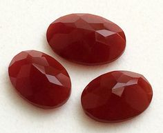 3 Pcs Red Chalcedony Faceted Oval Stones Loose by gemsforjewels