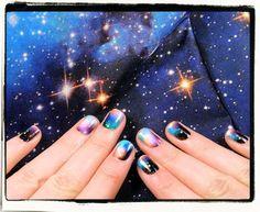 Nailderella: NCLA galaxy nails and BM leggings – Galaxy Arts So Nails, How To Do Nails, Ncla Nail Wraps, Galaxy Nails, Galaxy Print, Fabulous Nails, Nail File, Nails Inspiration, Pedi