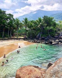 Praia dos Portugueses em Ubatuba, São Paulo. 🇧🇷 Beach Fun, Summer Beach, Sea Photography, Travel Bugs, Nature Animals, Beach Pictures, Plein Air, Ciel, Brazil