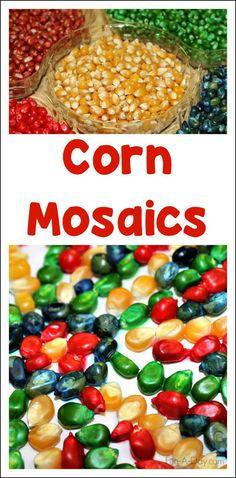 Corn Mosaic Art Using Dyed Popcorn Kernels   Fun-A-Day!