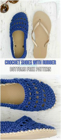 Crochet Shoes With Rubber Bottoms Free Pattern #yarns #crochet #slippers #flipflops #shoes