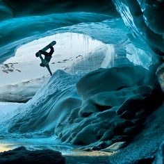 The second most popular Pin in the first 500 pins.  Quite an amazing photo! Handplant in the eye of a snowcave.  #snowboarding #snowandice