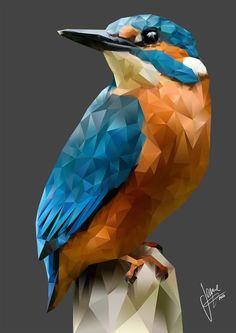 Children's Art Paintings – Viral Gossip Arte Pop, Paint Swatch Art, Art Sketches, Art Drawings, Triangle Art, Polygon Art, Kingfisher, Geometric Art, Animal Design
