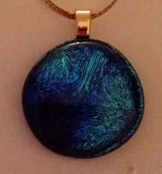 Dichroic Hot Lava - Rainbow 1 Fused Glass Pendant. SOLD