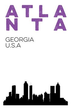 Digital Print Version of Atlanta Skyline Print.  ATL Georgia Skyline Poster. 11x17 art
