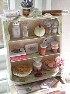 Miniature Vintage Styled Country Cottage Hutch