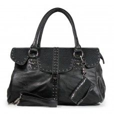 Snake Skin Texture Handbag with Cell Phone Pocket and Adjustable Strap- Black $49.95