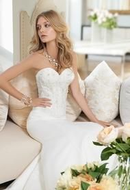 Long Strapless Beaded Mermaid Wedding Dress