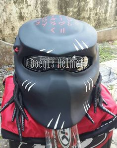 CUSTOM PREDATOR HELMET MOTORCYCLE BLACK DOT APPROVED #BoegisHelmet #Helmet