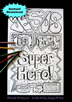 Heres an economical way for teachers to provide for every student in their classroom. Feel free to print up to 50 copies of this pdf instant download - if you need more, I ask that you please purchase an EXTENDED LICENSE (listed in my shop) for each additional 50 copies needed. This 8.5 x 11 b&w Jesus is my Super Hero INSTANT download comes in pdf format for you to print on your own printer with your own 8.5x11 paper. I HIGHLY RECOMMEND using non-glossy heavy cardstock paper to prevent s...