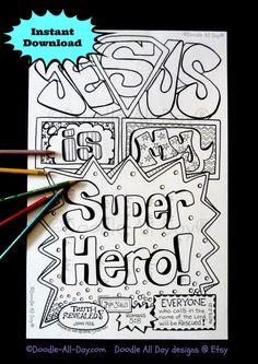 jesus is my superhero 85x11 printable bible coloring pagessuperhero